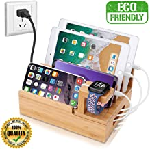 InkoTimes Charging Station with 5-Port USB Charger, Bamboo Charging Station for Multiple Devices of Apple iWatch iPhone iP...