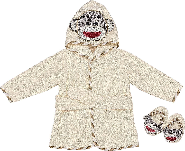 Sock Monkey Hooded Bath Robe & Slipper Set (0-9 Months)