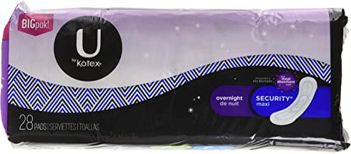 U by Kotex Security Maxi Pads, Overnight, Unscented, 112 Count (4 Packs of 28)