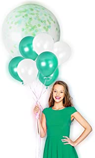 Green and White Birthday Metallic Helium Latex Balloons Transparent Confetti Decorations for Jungle St Patrick Emerald Wedding Dinosaur Theme Backdrop