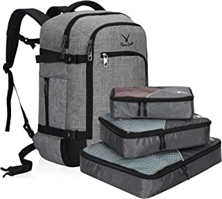 Hynes Eagle Travel Backpack 40L Flight Approved Carry on Backpack, Light Grey with 3PCS Packing Cubes-2018