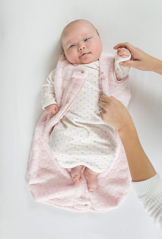 SwaddleDesigns Microfleece Sleeping Sack with 2-Way Zipper, Pink Puff Circles, 6-12MO
