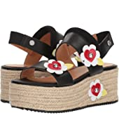 LOVE Moschino - Leather Platform Sandal w/ Flowers