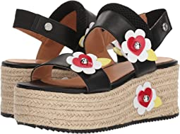 LOVE Moschino Leather Platform Sandal w/ Flowers