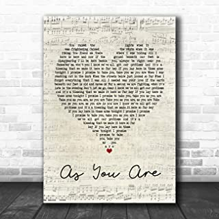 As You are (Shy FX Remix) Script Heart Quote Song Lyric Music Poster Gift Present Art Print