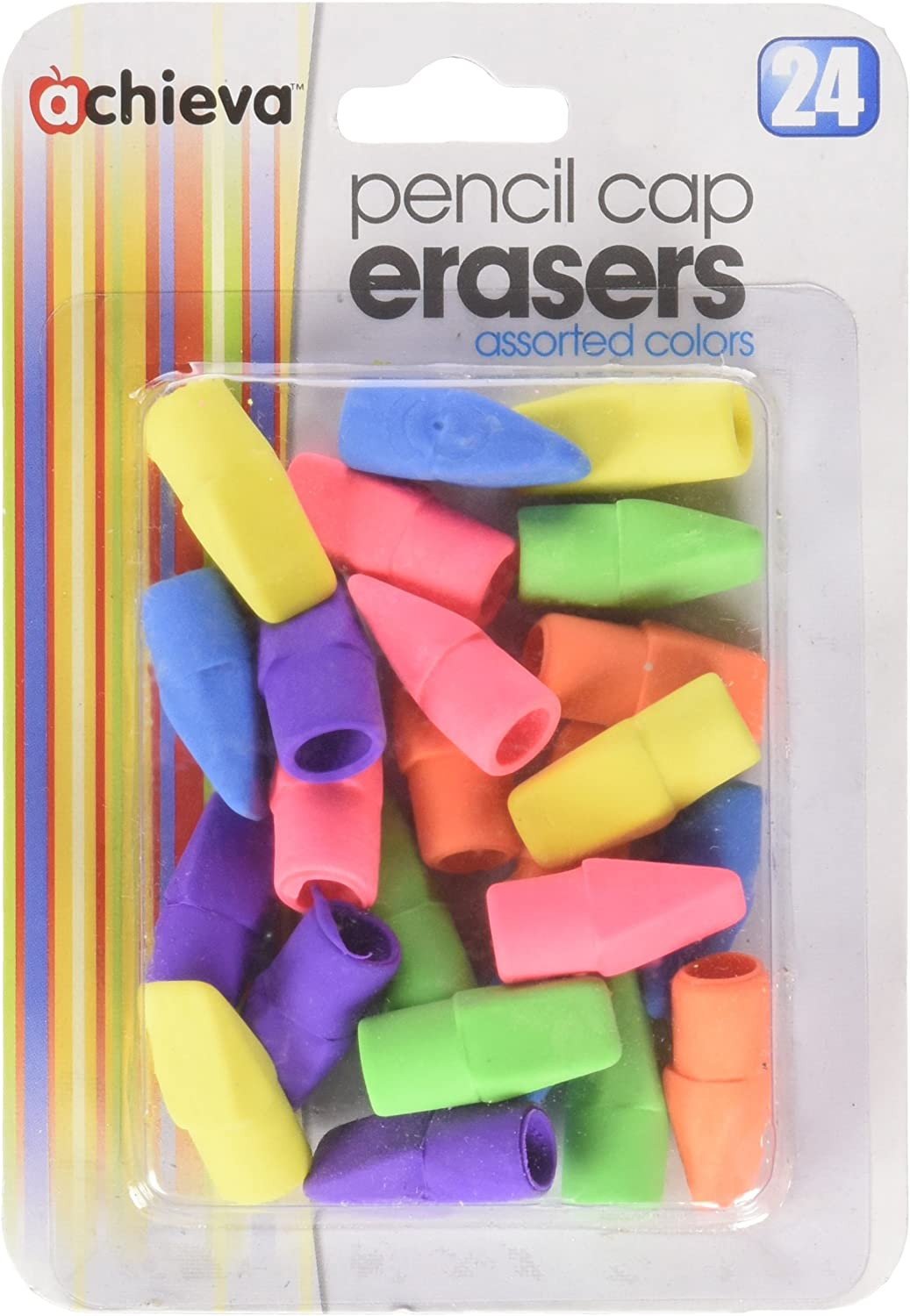 Officemate Fashion OIC Achieva Pencil Eraser Caps pack Assorte a High quality 24 in