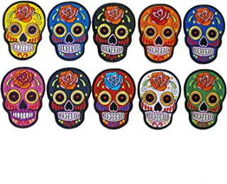 10 Pieces, Mexican Sugar Skull Embroidered Iron on Patch