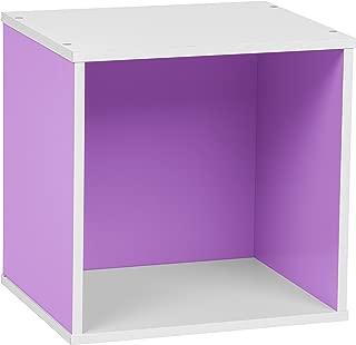 IRIS USA, CQB-35, Modular Wood Storage Cube Box, Purple, 1 Pack