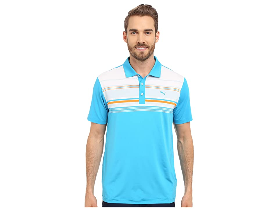 PUMA Golf Short Sleeve Key Stripe Polo (Atomic Blue) Men