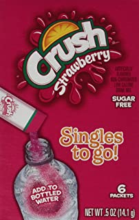 Crush Singles To Go Powder Packets, Water Drink Mix, Strawberry, Non-Carbonated, Sugar Free Sticks (72 Total Servings) - O...
