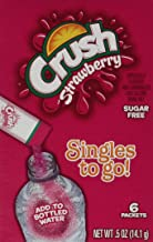 Crush Singles to Go Powder Packets, Water Drink Mix, Strawberry, Non-Carbonated, Sugar Free Sticks (12 Boxes with 6 Packets Each - 72 Total Servings)