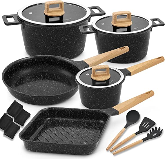 Cookware Set Non-Stick Scratch Resistant 100% PFOA Free Induction Aluminum Pots and Pans Set with Cooking Utensil Pack -15 - Black