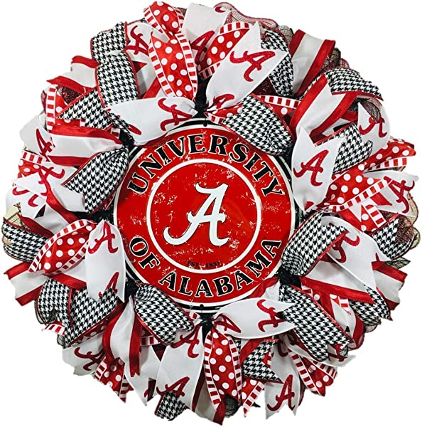 Alabama Wreath For Front Door With Deco Mesh And Ribbon