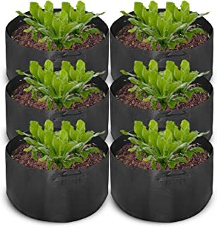 Mophorn 6-Pack 100 Gallon Plant Grow Bag Aeration Fabric Pots with Handles Black Grow Bag Plant Container for Garden Planting Washable and Reusable (6-Pack 100 Gallon)