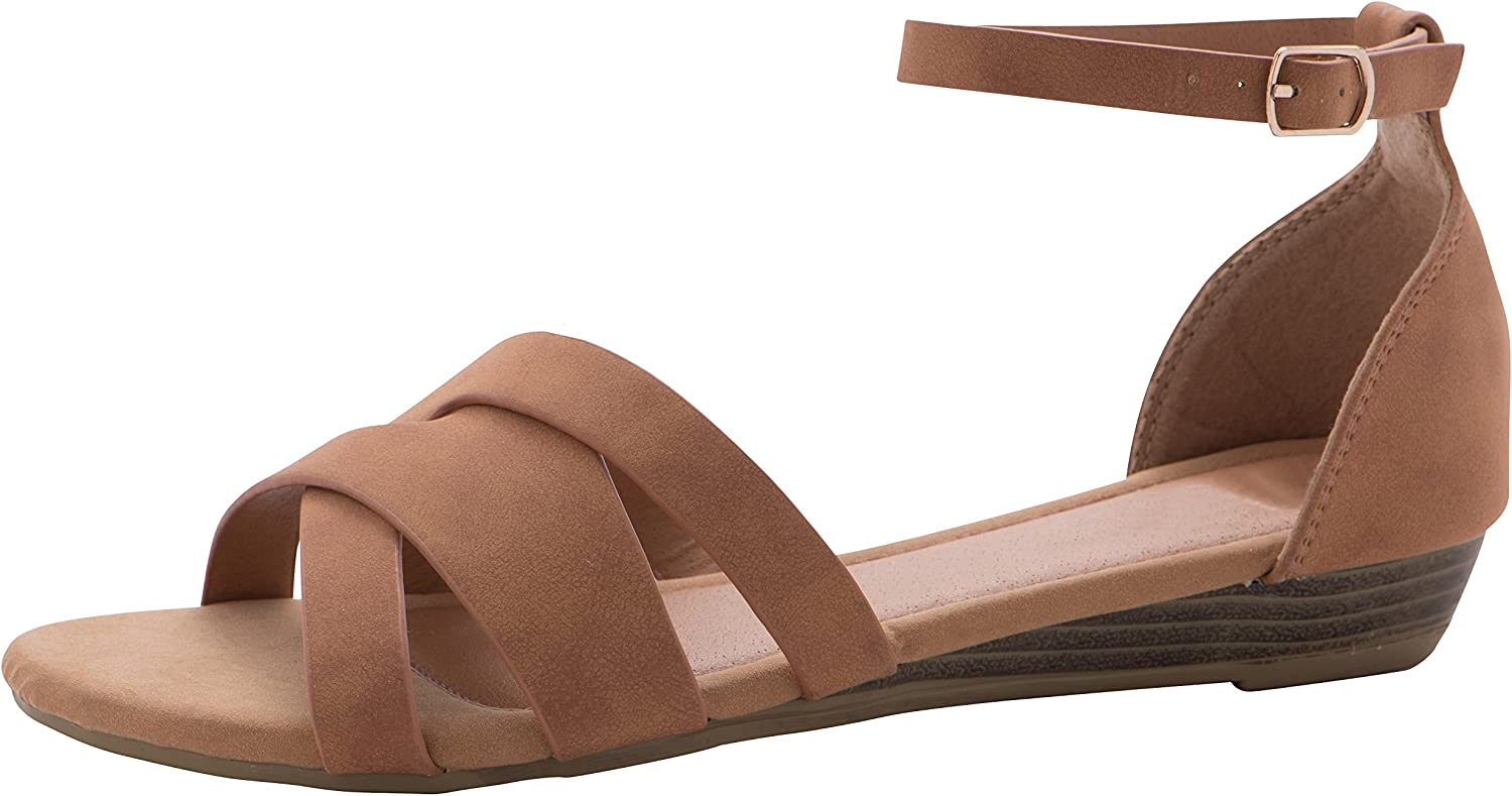 Cambridge Select Women's Open Toe Crisscross Buckled Ankle Strap Low Stacked Wedge Sandal