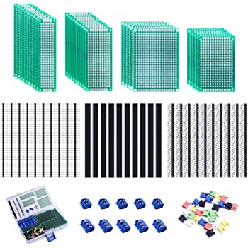 Smraza 100pcs Double Sided PCB Board Kit, Prototype Boards for DIY Soldering and Electronic Project Circuit Boards Compatible with Arduino Kits, 30PCS 40 Pin 2.54mm Male and Female Header Connector