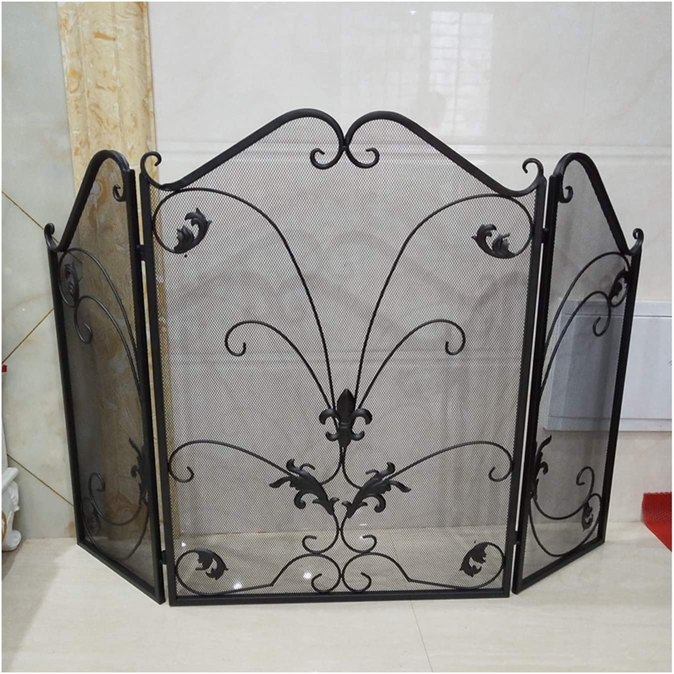 Spark Protection 3 Direct stock Soldering discount Panel Wrought Fireplace Iron Leaves Screen Wr