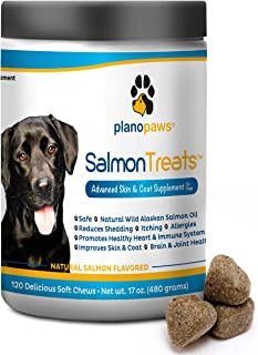 Salmon Oil for Dogs - Omega 3 Fish Oil for Dogs - Itching Skin Relief - Dog Allergy Relief Medicine - Improves Shedding Itchy Dog Skin - 120 Dog Fish Oil Treats - Natural Wild Alaskan Salmon Oil Chews