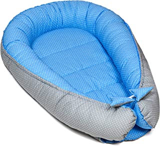 Totsy Baby Nido Bebe Recien Nacido - Reductor de Cuna nidos para Bebes cojin colecho (Lunares Blancos sobre Azul, 90 x 50 cm)