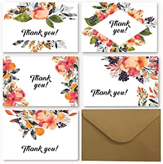 Floral Thank You Cards - 50 Blank Floral Design Greetings Cards 4 x 6 Inches With 50 Envelopes - 5 different Watercolor designs - For Wedding, Baby Shower, Party, Employee, Business, Anniversary Event
