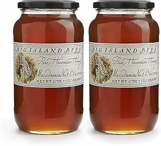 2-Pack of Big Island Bees Macadamia Nut Blossom Honey, Pure Raw Hawaiian Honey - (Two Large 47 oz Glass Jars)