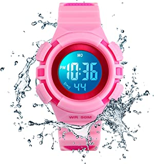 Kids Watches Multi Function 50M Waterproof Sport 7 Colors LED Watch Alarm Stopwatch Digital Child Wristwatch for Boy