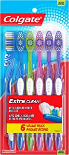 Colgate Extra Clean Full Head Toothbrush, Medium - 6 Count (Pack of 1)