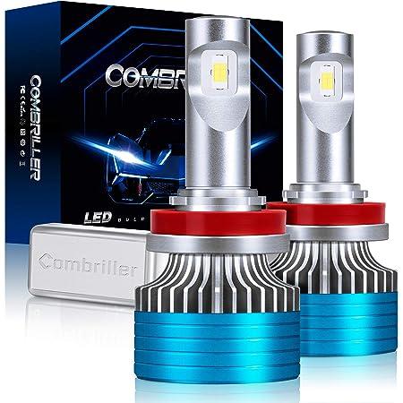 Combriller H11 LED Headlight Bulbs 6500K Xenon White, Canbus H11/H9/H8 Led Headlight Bulbs 16000LM Per Set with Cooling Silent Fan, H11/H9/H8 Led Fog Light Bulbs, Pack of 2