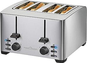 ProfiCook PC-TA 1073 broodrooster voor 4 sneden, roestvrijstalen behuizing, 2 x opzetstuk voor broodjes, traploos instelba...