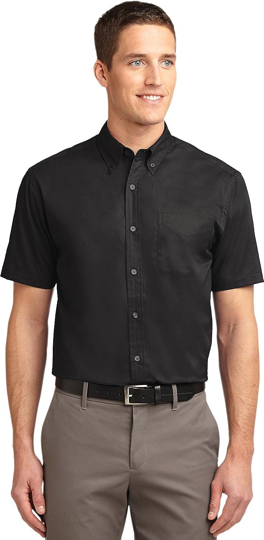 Port Authority Men's Big Short-Sleeve Easy Care Dress Shirt-Navy/Light Stone S508