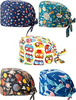 5 Pieces Printed Soft Caps Bouffant Scrub Turban Cap Cotton Adjustable Scrub Hat with Sweatband for Women Men