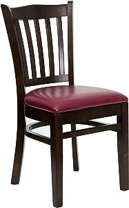 Flash Furniture HERCULES Series Vertical Slat Back Walnut Wood Restaurant Chair - Burgundy Vinyl Seat