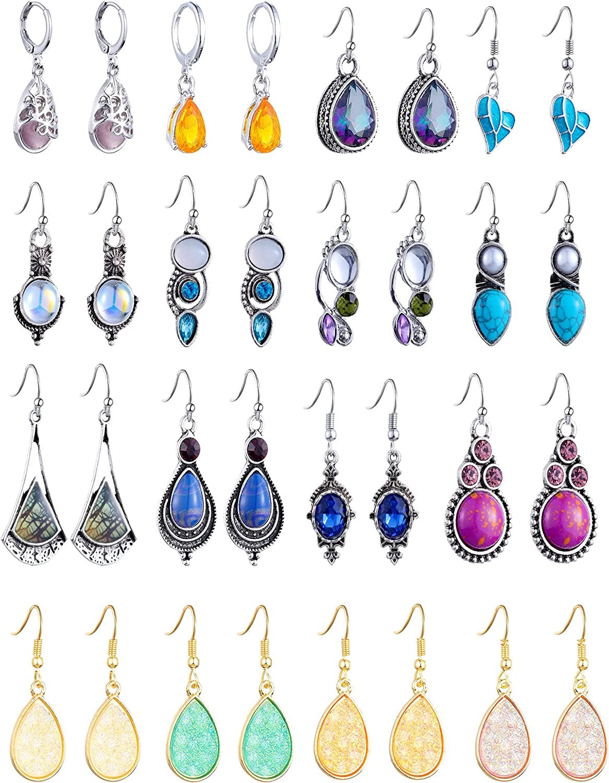 16 Pairs Teardrop Crystal Drop Dangle Earrings for Women Vintage Multicolor Boho Hoop Earrings Colorful Hook Dangle Earrings Valentine's Day Jewelry for Girls