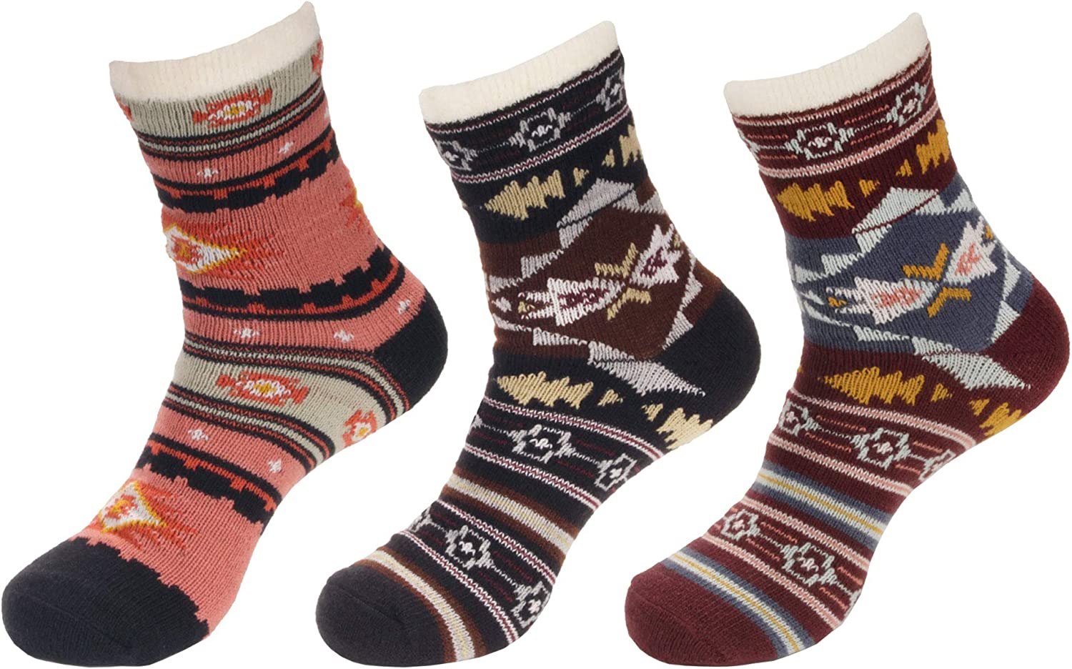 BambooMN Men's Cabin Double Layer Thick Soft Warm Fuzzy Comfy Home Socks, 3 Pairs