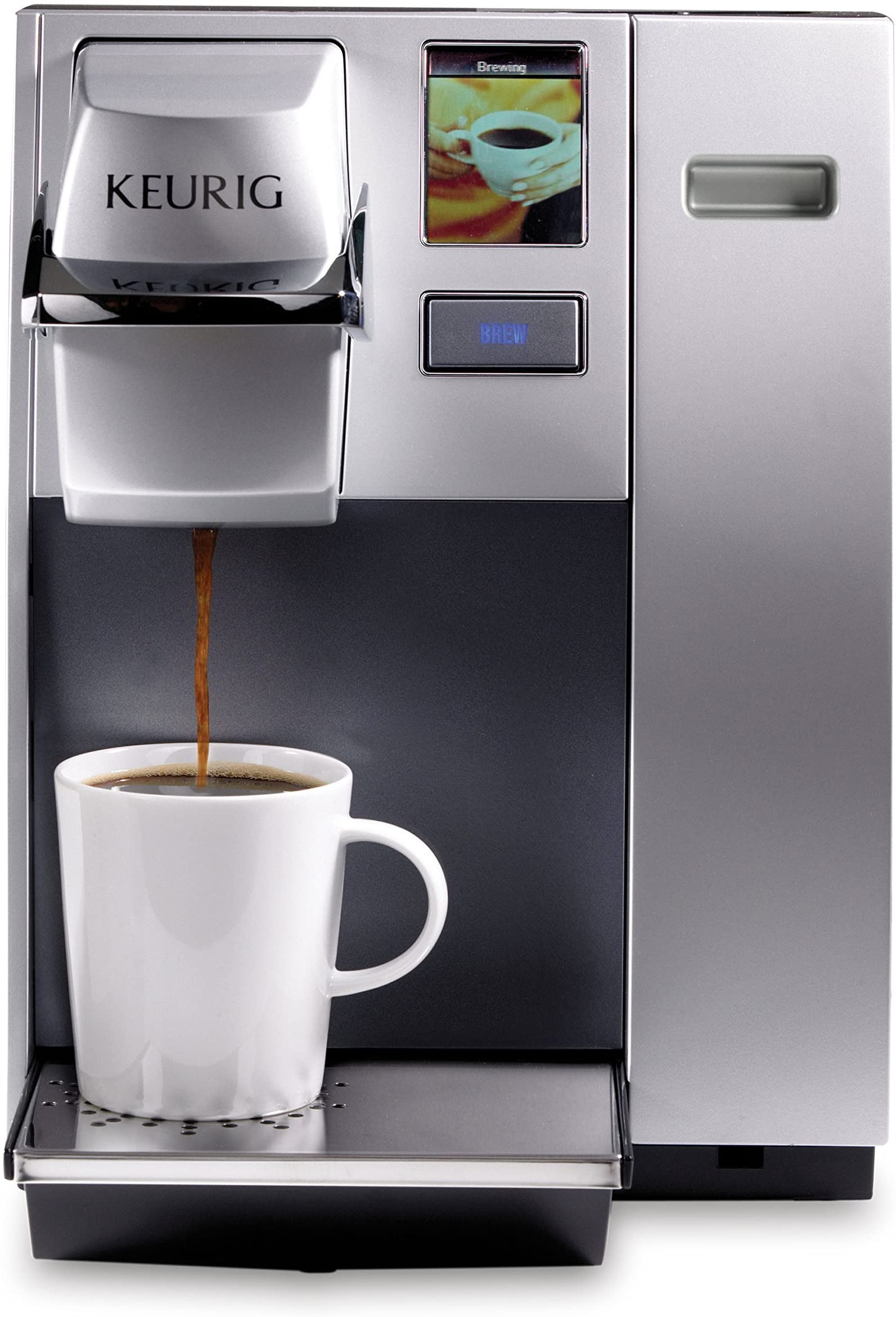 Keurig K155 Office Pro Commercial Coffee Maker, Single Serve K-Cup Pod Coffee Brewer, Silver, Extra Large 90 Oz. Water Reservoir