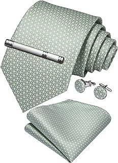 Plaid Tie Men's Silk Tie and Pocket Square Cufflinks Tie Clip Set Wedding Business