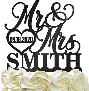 Personalized Wedding Cake Topper Wedding Cake Decoration Elegant Customized Mr Mrs Last Name Date With Heart Color Acrylic