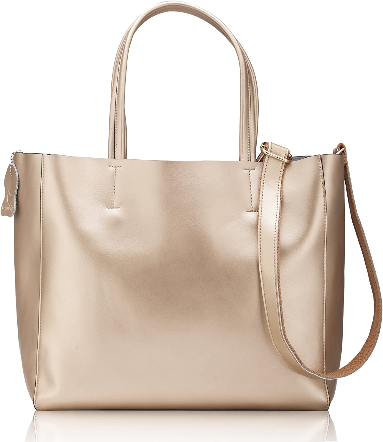 Women' s Casual Shoulder Tote Handbag Cross Body Bag with A Large Capacity Made of Soft Pearl Cowhide Genuine Leather