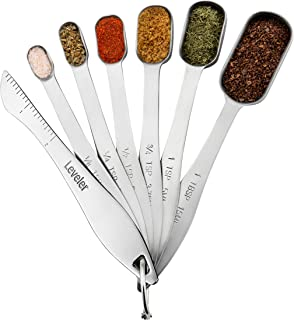 Spring Chef Heavy Duty Stainless Steel Metal Measuring Spoons for Dry or Liquid, Fits in..