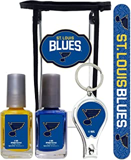 NHL St Louis Blues Manicure Pedicure Set with 7-Inch Nail File, Nail Clippers, 2 Nail Polishes in Team Colors, and Toiletry Bag for the Whole Kit. NHL Gifts for Women.