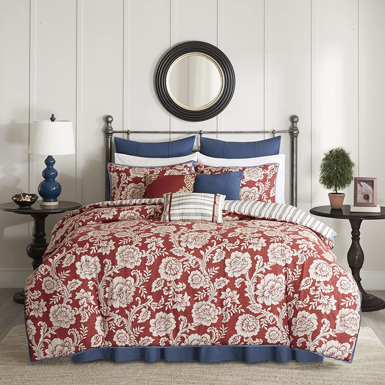 Madison Park Lucy Duvet Cover Cal King Size - Red, Navy, Reversible Floral, Stripes Duvet Cover Set – 9 Piece – Cotton Twill, Cotton Poly Blend Reverse Light Weight Bed Comforter Covers