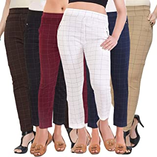 919d14b458b18 Pixie Women's/Girls/Ladies Spandex Check Pattern Pant/Trouser/Jeggings  Combo Pack