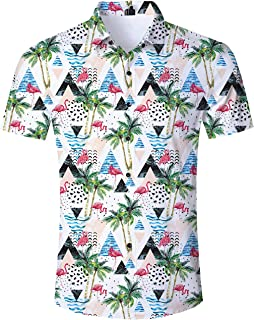 0fda9b799ba70a Idgreatim Uomo Hawaiana Camicia Maniche Corte Tropicale con Stampa Floreale  Aloha abbottonata Camicie grafiche