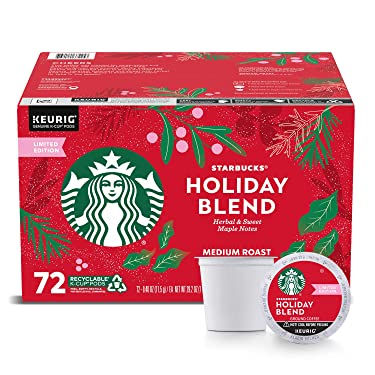 Starbucks Coffee Holiday Blend K Cup Pods, 72 unidades, 29.2 oz ()