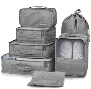 7 Set Packing Cubes Travel Luggage Packing Organizers Set with Laundry Bag Lightweight Luggage Accessories Toiletry Bag (G...