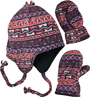 N'Ice Caps Little Girls and Baby Colorful Prints Fleece Hat Mittens Winter Set