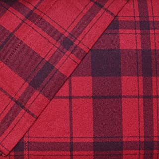 Cuddl Duds Full Flannel Sheet Set 4 Piece 100% Cotton Deep Pocket Heavyweight Double Bed Sheets - Red Plaid