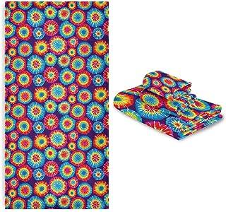 CaTaKu Lot de 3 serviettes arc-en-ciel Tie Dye pour salle de bain, 1 serviette de bain, 1 gant de toilette, 1 serviette à ...