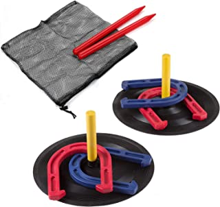 Rubber Horseshoes Game Set for Outdoor and Indoor Games-Includes 4 Horseshoes,2 Pegs,2 Rubber Mats,2 Red Plastic dowels–Beach Games Perfect for Tailgating,Camping,Backyard and Fun for Kids and Adults!