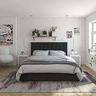 CosmoLiving by Cosmopolitan Elizabeth Bed with Storage, Full Size Frame, Black Velvet Upholstered
